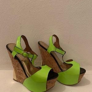 Wedge open toe sandals.
